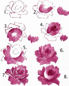 Ideas For Drawing Rose Tutorial China Painting Art Watercolor, Watercolor Flowers, Fabric Painting, Painting & Drawing, Peony Painting, Pintura Country, China Painting, Painting Lessons, Learn To Paint