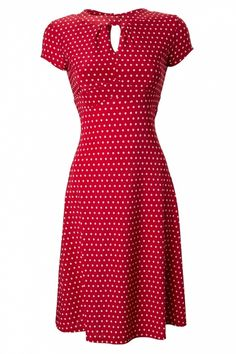Lindy Bop - 40s Juliet Classy Red Polka Dot Vintage Flared Tea dress - Click image to find more hair & beauty Pinterest pins