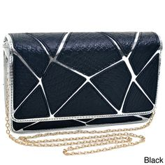 Dasein Embossed Croco Patch Chrome Clutch | Overstock.com Shopping - Great Deals on Dasein Clutches & Evening Bags