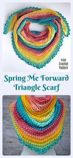 Spring Me Forward Triangle Scarf free crochet pattern
