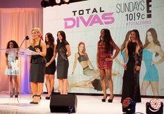 Natalya Jojo Eva Marie Nikki Bella Brie Bella Naomi and Cameron of Total Divas attend WWE SummerSlam Press Conference at Beverly Hills Hotel on...