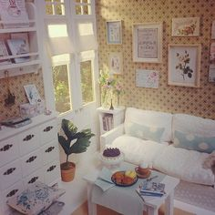 White Silk Living room 1/6 scale #diorama #doll #dollhouse #miniature…