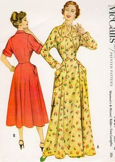 1950s Classic I Love Lucy Robe Housecoat Hostess Gown Pattern McCalls 9557 Two Lengths Figure Flattering Style Bust  40 Vintage Sewing Pattern