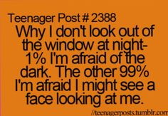 More like 50% I'll see a weeping Angel or get attacked by a Vasta Nerada, and 50% I'll see a face looking back at me.