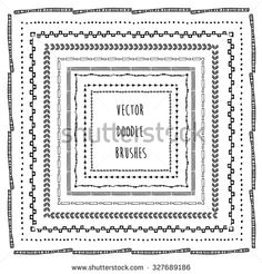 Hand drawn decorative vector brushes. Ink doodle illustration.Trendy doodle style brushes. - stock vector