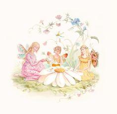 ≍ Nature's Fairy Nymphs ≍ magical elves, sprites, pixies and winged woodland faeries - fairies tea party Fairy Tea Parties, Tea Party, Fairy Land, Fairy Tales, Art Fantaisiste, Vintage Fairies, Beautiful Fairies, Gif Animé, Fairy Godmother