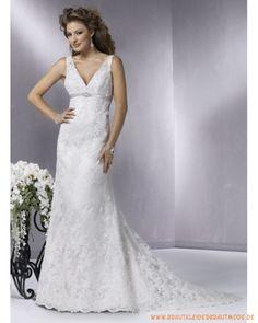 2013 Elegante Brautmode aus Satin V-Ausschnitt Perlenverziertes Korsett und schlichter A-Linie Rock mit Schleppe