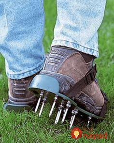 Buy your one size fits all lawn aerator sandals. Just strap on these lawn aerator sandals and get to work. Garden Paths, Lawn And Garden, Garden Tools, Garden Gadgets, Garden Fences, Herb Garden, Vegetable Garden, Lawn Care Tips, Lawn Maintenance