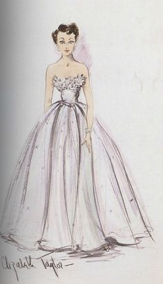 Costume Sketch for Elizabeth Taylor in A Place In The Sun (1951)