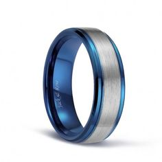 The center of this tungsten ring is brushed silver , and the edges and inner ring are plated blue. The blue and silver collision makes this ring more unique. Custom Wedding Rings, Wedding Shoes, Wedding Dresses, Dream Wedding, Fashion Rings, Fashion Jewelry, Wedding Bands For Him, Silver Rings With Stones, Gold Rings