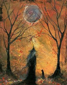 Halloween witch & cat in woods under moon (Terri Foss artwork) Retro Halloween, Photo Halloween, Halloween Pictures, Holidays Halloween, Halloween Crafts, Happy Halloween, Halloween Decorations, Halloween Tricks, Samhain Halloween