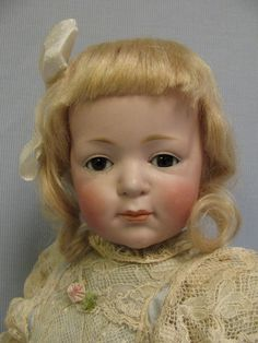 """18"""" KESTNER #206 Antique Doll 1910 Rare CHARACTER Closed Mouth, Glass Sleep Eyes."""