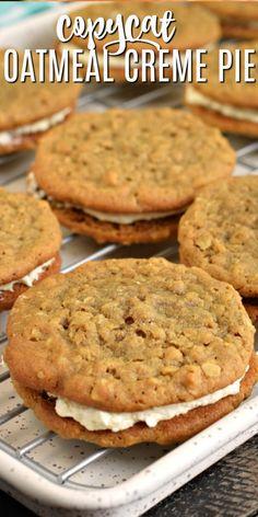Just Desserts, Delicious Desserts, Yummy Food, Little Debbie Oatmeal Cream Pie Recipe, Oatmeal Cream Pie Filling Recipe, Recipe With Oatmeal, Oatmeal No Bake Cookie Recipe, Baking Recipes, Cookie Recipes