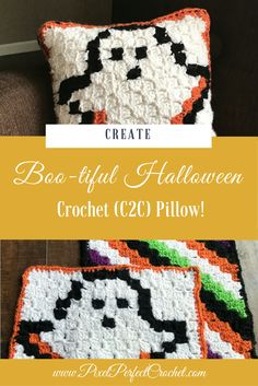 Craft the perfect spooky accent for your Halloween decor with my Boo-tiful Crochet Halloween Pillow Series with free graph, and instructions! Crochet C2c, Pixel Crochet, Crochet Fall, Crochet Pillow, Halloween Pillows, Halloween Boo, Halloween Projects, Crafts To Do, Yarn Crafts