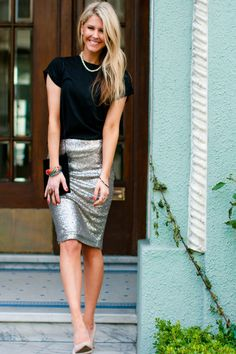 Step out and shine in this dark silver sequin pencil skirt. This sequin skirt is a must have this holiday season! Micro sequins add glitz to your basic pencil skirt! Perfect for the Holidays.