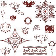 Mehndi Lotus-Kollektion Lizenzfreies vektor illustration