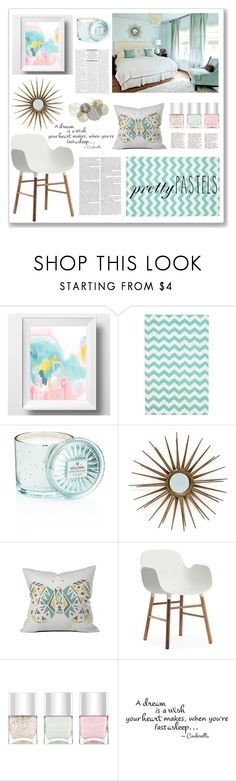 """""""Pretty Pastels"""" by rubyrenolds ❤ liked on Polyvore featuring PBteen, Voluspa, Dot & Bo, Normann Copenhagen, Nails Inc. and Universal Lighting and Decor"""