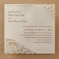 Vintage Pearls & Lace Laser Cut Embossed Wedding Invitations Invitation 20% Sale
