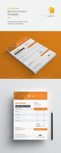 Buy Corporate Business Invoice by GraphicArtist on GraphicRiver. Corporate Business Invoice print dimension with bleeds. Invoice Design Template, Letterhead Design, Templates, Freelance Graphic Design, Graphic Design Studios, Letter Heads, Making My Way Downtown, Text Fonts, Corporate Business