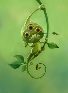 First thoughts – This alien is very cute and would be pointless in a game other … Erste Gedanken – Dieser Außerirdische ist sehr niedlich. Green Monsters, Cute Monsters, Little Monsters, Monster Illustration, Illustration Art, Dragons, Arte Disney, Creature Concept, Monster Art