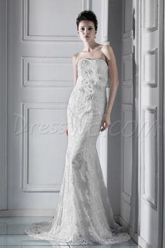 アメージングトランペット/マーメイドストラップレス床長さのチャペルレースクセニアのウェディングドレス 3827726 - レース ウェディングドレス - Dresswe.Com