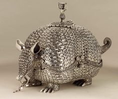 Sterling silver armadillo-shaped box from Peru