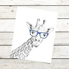 Printable Giraffe Nursery Art Print. This whimsical Giraffe nursery art print would be a fun and cheerful addition to your babys room decor. Printable art is an easy and affordable way to decorate every room in your home. You can also create T shirts, photo props, party