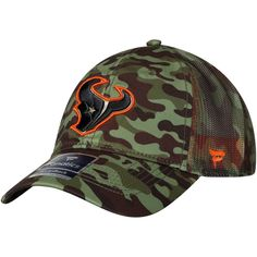 5fc15b7f1a4 Men s Houston Texans NFL Pro Line by Fanatics Branded Camo Recon Trucker  Adjustable Hat