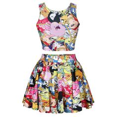 Adventure Time Skirt and Crop Top Set Dance Wear Rave Wear Rainbow... ($37) ❤ liked on Polyvore featuring silver and women's clothing