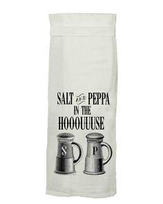 Salt and Peppa In The Houuuuse Flour Sack Tea Towel