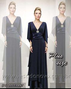 vestido azul marinho com manga - mae do noivo, madrinha de casamento - CASA DO VESTIDO NOVO (11) 2274-9604 ou 223509268