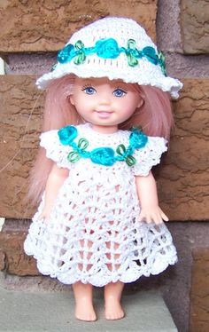 Kelly Doll crocheted dress and sunhat