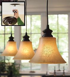 Main image for Screw-In Textured Linen Glass Shade Pendant Lighting