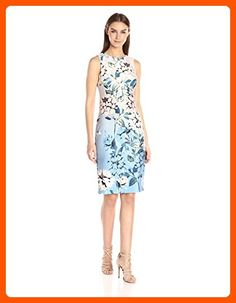 Vince Camuto Women's Printed Scuba Bodycon Dress, Blue/Pink, 10 - All about women (*Amazon Partner-Link)