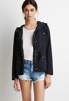 hooded windbreaker utility jacket