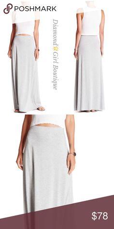 "TART Samantha Maxi Skirt Soft rayon- spandex maxi skirt in heather grey by Tart as a comfortable elastized banded waist, length:41"". Made in USA Tart Skirts Maxi"