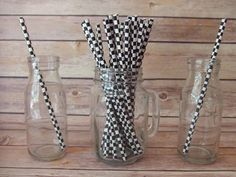 Checker Flag Paper Straws, NASCAR Party, NASCAR Birthday These are great to add to your drinks during a birthday party, baby shower, wedding, holiday party.