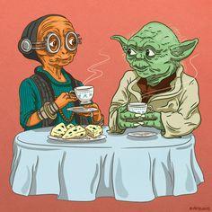 Maz Kanata and Yoda having tea and scones. - Star Wars Rings - Ideas of Star Wars Rings - Maz Kanata and Yoda having tea and scones. Star Wars Ring, Star Wars Fan Art, Star Trek, Maz Kanata, Fanart, Star War 3, Graphic Artwork, Star Wars Gifts, Love Stars