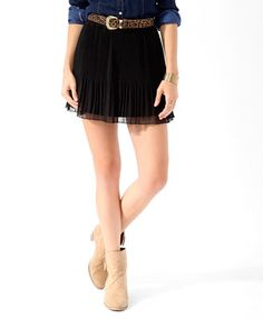 Pleated Crepe Chiffon Skirt | FOREVER21 - 2019571016