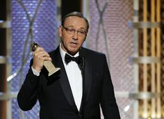 """BEST ACTOR IN A TV SERIES, MUSICAL OR COMEDY: KEVIN SPACEY, """"HOUSE OF CARDS"""". 2015 Golden Globe Award Winners"""