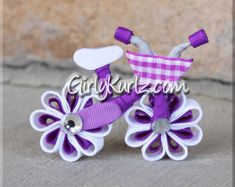 Pink Bicycle Hair Bow Bicycle Hair Clip Ribbon by GirlyKurlz Bicycle Clock, Bicycle Types, Side Hairstyles, Headband Hairstyles, Ribbon Sculpture, Twist Headband, Ribbon Hair Bows, Hair Accessories For Women, Violet