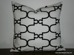 Decorative PIllow Cover18 inch Black on White by EllensDesigns, $40.00