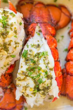 The ONLY Lobster Tails Recipe you'll need! Broiled lobster tails are juicy, flavorful, and quick to make! + How-To butterfly lobster tails photo tutorial! Best Seafood Recipes, Lobster Recipes, Fish Recipes, Recipies, Broiled Lobster Tails Recipe, Broil Lobster Tail, Grilled Lobster Tails, Food Network Recipes, Cooking Recipes