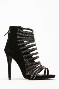 Black Rhinestone Strappy Heels