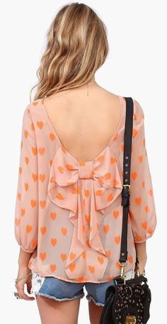 Coral Bow Back Blouse with Hearts by adriana