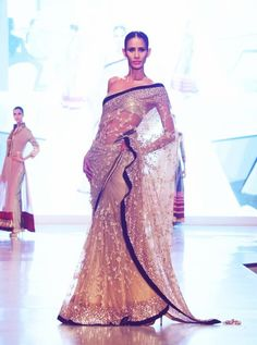 Gold black net saree #indian wedding