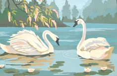 Vintage trumpeter swan paint by number 1950s framed beautiful blue white and coral painting on Etsy, $44.00