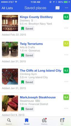 Foursquare iPhone lists screenshot