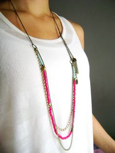 Pink turquoise multi layered bohemian necklace by DivinaLocura