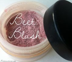 Beet Blush: Ingredients: Fine beet powder Arrowroot powder Old/recycled powdered blush container (like this) Process: Start with 1/2 tb arrowroot starch in a container. Add 1/8 tsp of beetroot powder at a time until desired color is reached. For me, I liked about 3/4 tsp of beet powder per the 1/2 tb arrowroot.